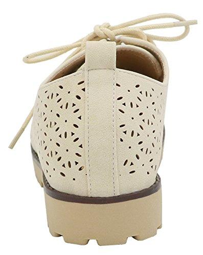 AgeeMi Shoes Mujeres Zapatos de Cordones Slip on Mocasines Casuales Zapatos Albaricoque