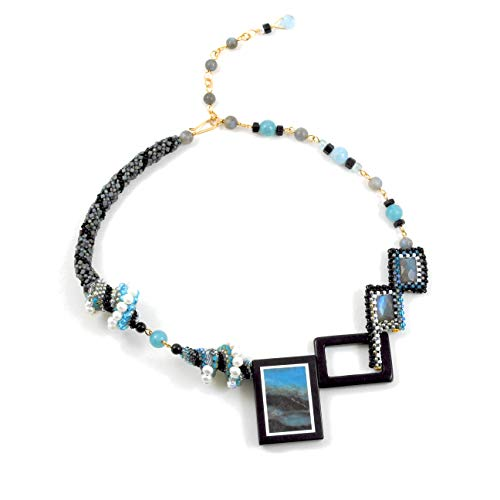 Statement Necklace with Natural Scenic Amazonite, Aquamarine and Labradorite in 14K Gold Filled