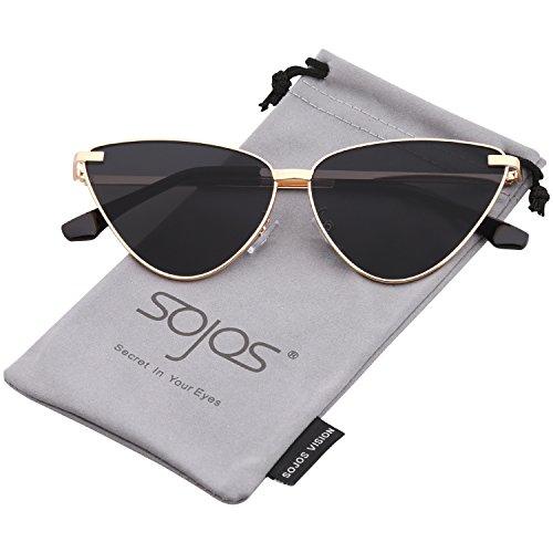 SOJOS Cat Eye Metal Frame Sunglasses Vintage Mirrored Women Sunglasses SJ1091 (C7 Gold Frame/Grey Lens, 62)