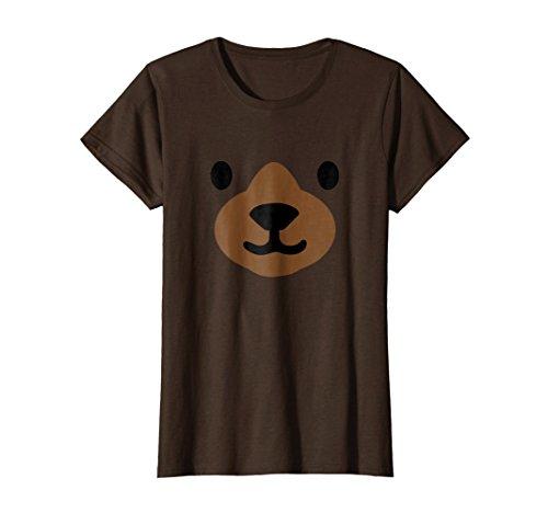 Womens Bear Face Halloween Costume Shirt Funny Medium Brown