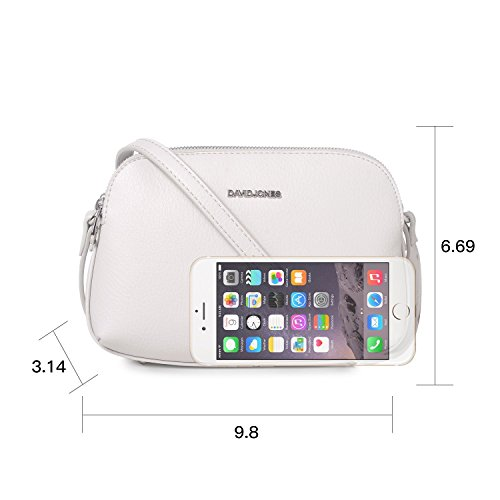 Purse Multi Leather Faux Zipper Travel Creamy DAVIDJONES Bag Bag Women's Messenger Shoulder Grey Crossbody Medium Pocketbook qaRpWOAwU