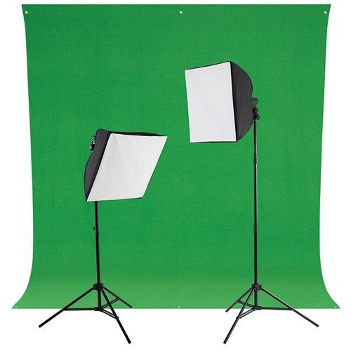 Westcott Green Screen Photo Lighting Kit, Includes 2x uLite Constant Light (500W), 2x uLite Collapsible Softbox, 2x Daylight LED Bulb with Tungsten Cover, Wrinkle-Resistant Backdrop Chroma Key (Photoflood Kit Lighting Studio)
