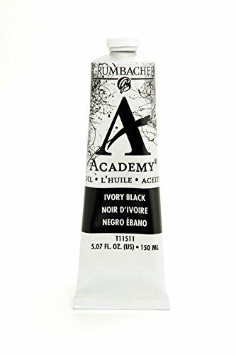 Academy Oil Color Paint - Grumbacher Academy Oil Paint, 150 ml/5.07 oz, Ivory Black