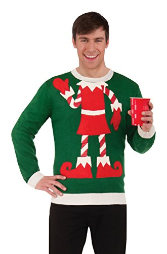 Forum Women's Plus-Size Extra Large Elf Ugly Christmas Sweater, Multi, X-Large (Halloween Costume Photo Contest)