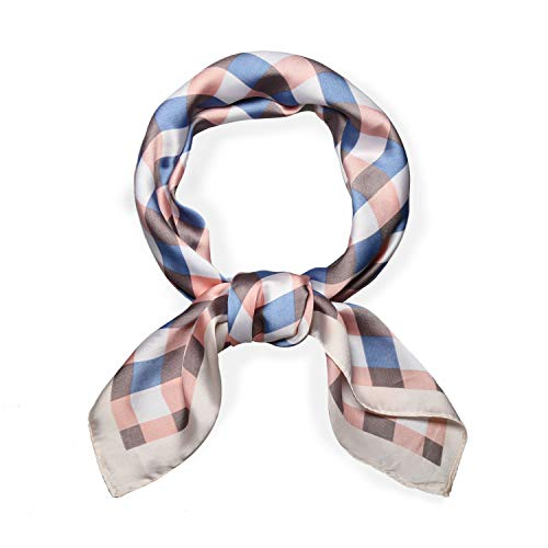 SOJOS Silk Like Plaid Women Scarf Square Satin Headscarf Hair Scarf 27