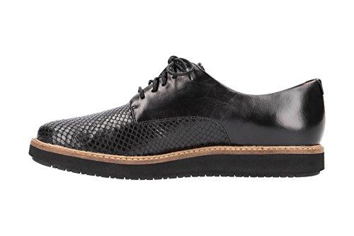 Negro Lisa con Mujer Clarks Cordones Zapatos Piel 4 de 26120449 znvqOA