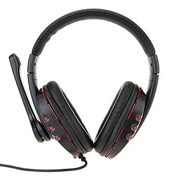 Q7 Auriculares Cascos Ajustable con Micrófono USB 190cm para PC Rojo