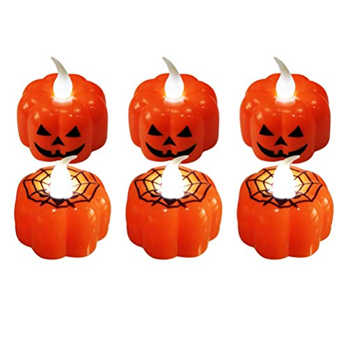 Amosfun Halloween Pumpkin Light LED Spider Light Flameless Candle Electronic Candles for Halloween Party Home Decorations 12 Pcs