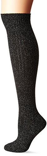 K. Bell Women's Patterned Knee High Socks, Silver Soft Lurex Marl, 9-11 (High Silver Socks Knee)