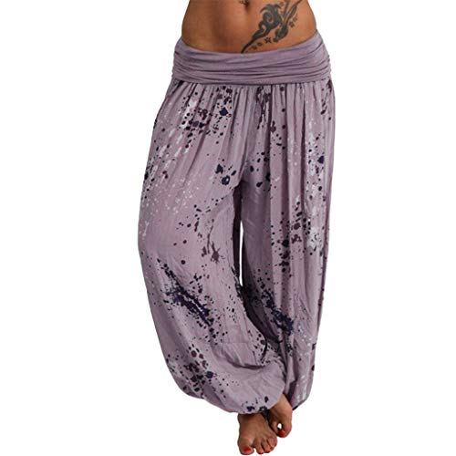 Women's Comfy Casual Pants Floral Print Lounge Pants Wide Leg,Londony ❤ღ♕Bohemian Harem Yoga Travel Festival Beach Pants Khaki American Pearl Com Yellow Earrings