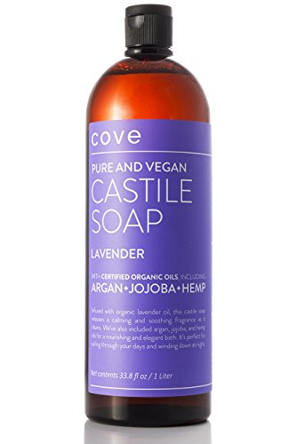 Cove Castile Soap - Lavender 33.8 oz / 1 Liter - Organic Argan, Hemp, Jojoba - All Soap Lavender 1