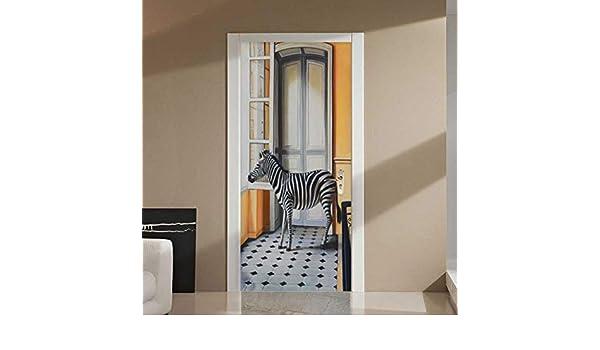 HQDOC Puerta Mural 3D Etiqueta De La Puerta Cebra para Sala de ...