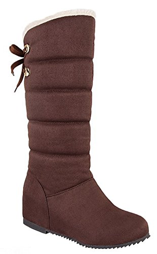 IDIFU Womens Warm Heighten Wedge Heels Cross Bandage Fleece Lined Mid Calf Snow Booties Brown NMue29bPmT