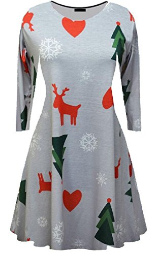 Grey Dresses Neck Long Women Coolred Crew Pattern Sleeve Printing xFaw1Aq8