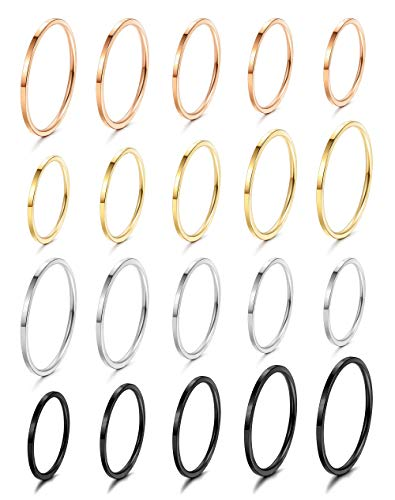 (LOLIAS 20Pcs 1mm Stainless Steel Plain Band Knuckle Stacking Rings for Women Girls Fashion Midi Rings Set Comfort Fit Silver/Gold/Rose/Black Tone)