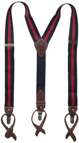 Tommy Hilfiger Men's 32mm Suspenders,Navy/Red,One sizee