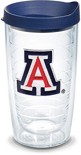 Tervis 1082391 Arizona Wildcats Tumbler with Emblem and Navy Lid 16oz, Clear