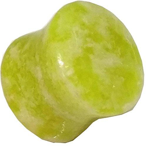 Jade Ear Plugs - Lemon Jade Flare Organic Stone Ear Plugs Gauges Sold Pair GOS27 (5mm)