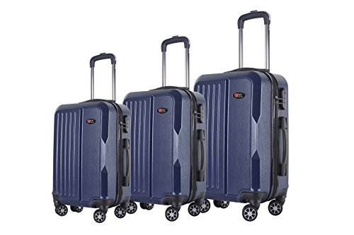 Upright Navy Large Rolling Luggage - 3-Piece Hardside Spinner Expandable Suitcase Set #1701 (Navy)