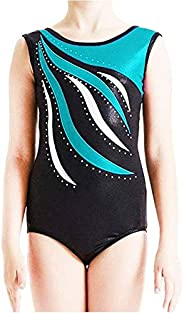Happy Cherry Girl Dance Leotard Sleeveless Gymnastic Shiny Stripe Bodysuit 4-16Y