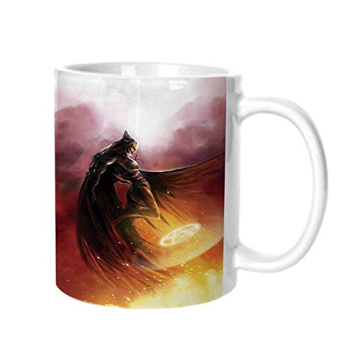 Fantasy World Fashion Coffee Cup,Superhero in His Original Costume Flying Up Magic Flame Save the World Theme For office,One size -