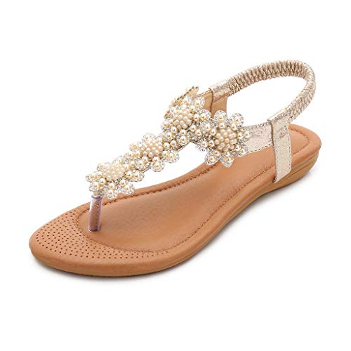 ♡QueenBB♡ Women Sandals Flats,Summer Girls Sandals Bohemian Rhinestone,Beach T-Strap Elastic Flip-Flops -