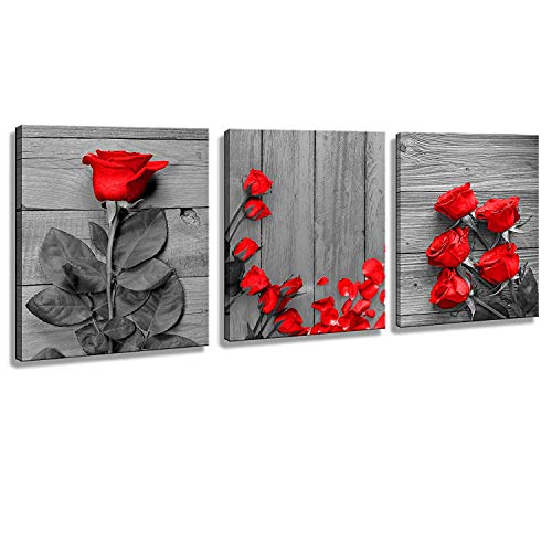 (Wall Art for Bedroom Red Rose Flowers Gray Book Canvas Wall Art Pictures Canvas Prints for Home Decorations Ready to Hang)