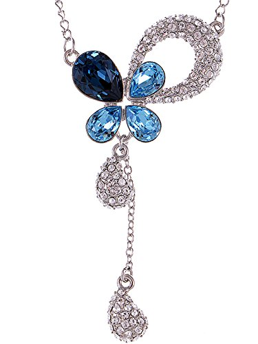 Alilang Blue Zircon Montana Tone Swarovski Crystal Elements Petal Tears Hope Necklace