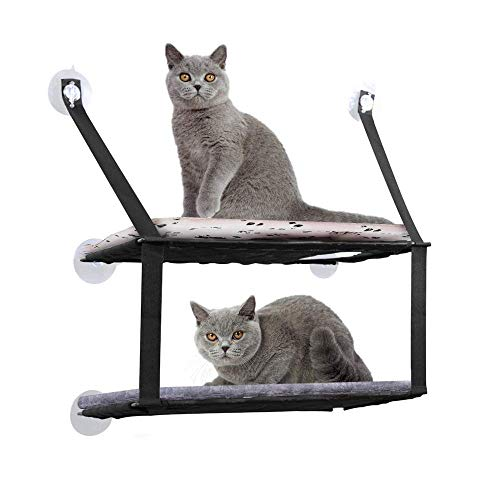 DADYPET Cat Window Perch Cat Tree Cat Bed Mount Hammock Sucker Wall Dual-Layer Cat Hammock Sofa Mat Cushion Hanging Shelf Bed Max