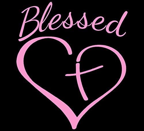 - Blessed Cross And Heart Christian Decal Vinyl Sticker|Cars Trucks Vans Walls Laptop| PINK |5.5 x 4.75 in|CCI1559