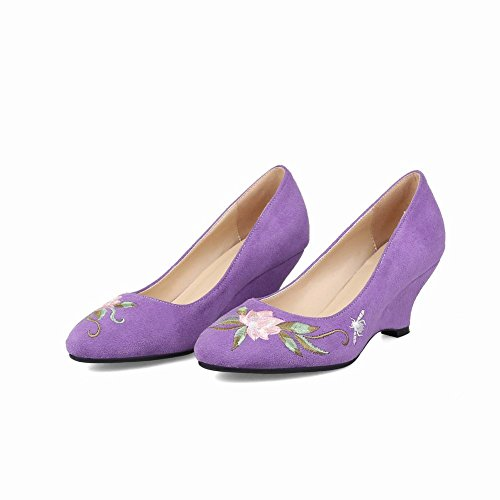 Carolbar Women's Stylish Embroidered Mid Heel Wedge Court Shoes Purple nX0Xoc
