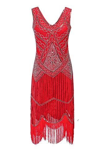 Women's 1920s Gatsby Cocktail Sequin Beaded V-Neck Fringed Tassels Hem Flapper Dress (XL, Deep red) ()