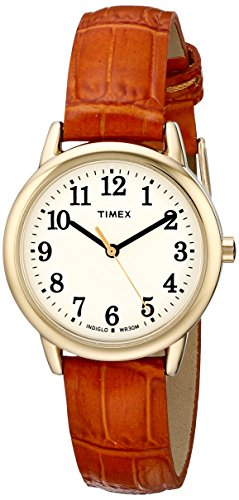 Timex Women's TW2P68800 Easy Reader Honey Brown Croco Pattern Leather Strap Watch