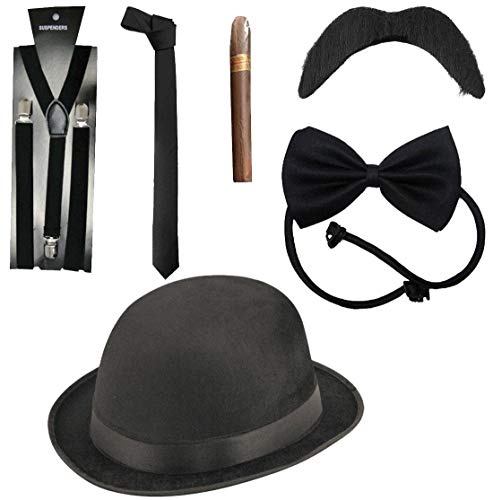 Rimi Hanger Adult Deluxe 6 Piece Gangster Costume Kit Mens 1920s Fancy Dress Accessories One Size]()