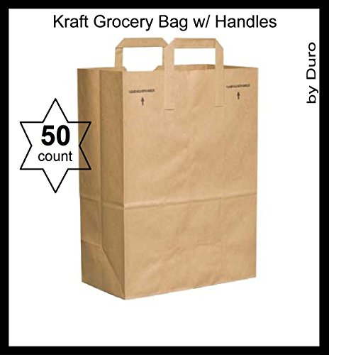 50 Paper Retail Grocery Bags Kraft with Handles 12x7x17 by D