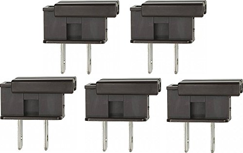 Replacement Plug - Creative Hobbies SPLUGBR, Easy Snap On End Plug, For SPT-1 Wire, Residential Grade, Polarized, Non-Grounding, 8 Amp, 125 Volt, Brown, Pack of 5 Plugs