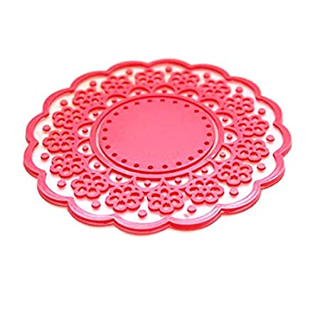 BESTONZON 4pcs motif de dentelle creuse translucide mignon anti-d/érapant isol/é tasse en silicone dessous de verre tapis protecteurs rose