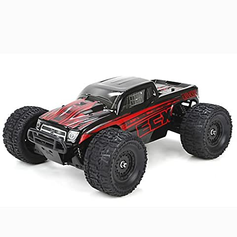 ECX Ruckus 4WD RTR Monster Truck (1/18 Scale), Black/Red - Red Monster Truck