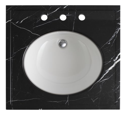 """Kohler K-3023-NM Kathryn 24"""" X 22"""" Marble Console Tabletop with 8"""" Centers, Nero Marquina Marble"""