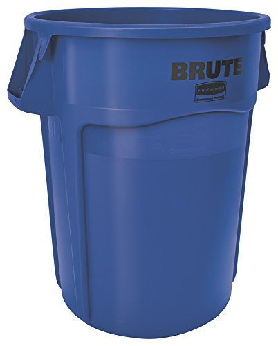 Rubbermaid Commercial Products 1779732 BRUTE Heavy-Duty Round Trash/Garbage Can, 55-Gallon, Blue