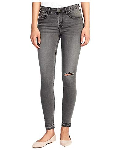 Jeans Mid-Rise Distressed Raw-Edge Gray Rockstar for Women (12)
