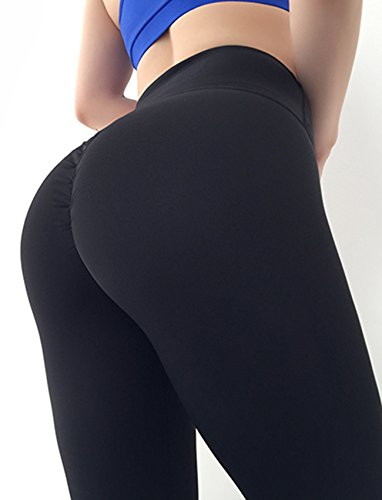 SEASUM Women Scrunch Butt Yoga Pants Leggings High Waist Waistband Workout Sport Fitness Gym Tights Push up L,Black,Large by SEASUM (Image #1)
