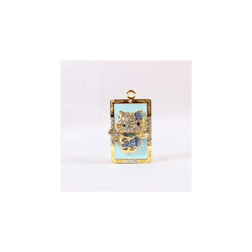 High Quality 8 gb Hello Kitty Crystal Jewelry USB Flash Memory Drive   Necklace   BLUE