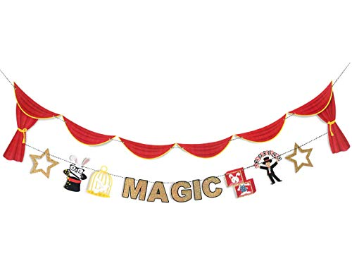 Magic Show - Party Banner | Magician Birthday Party Banner | Magic Show Theme | Magician Hat, Bunny, Dove, Gold Star, Magic Stage | Kids Birthday Party Decor | Black and Gold | Magical Party Decor