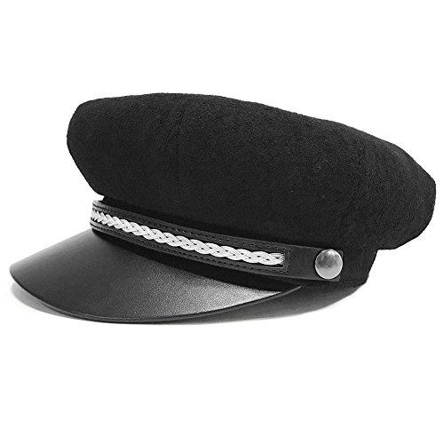 Black Satin Fedora Hat (Womens Newsboy Cap Wool Winter Sailor Fiddler Fisherman Hat Black Visor Beret for Ladies Satin Lined)