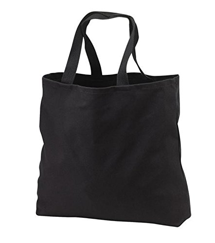 Heavy Canvas Twill Book Tote Bags for Daily Use (1, BLACK)