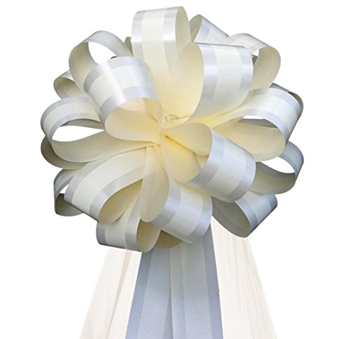 Ivory Striped Wedding Pull Bows with Tulle Tails - 8
