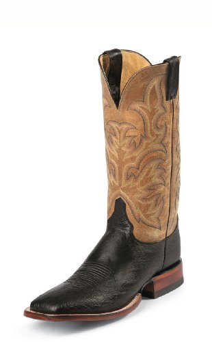 Justin Men's Remuda Equestrian Boot - Black Smooth Ostric...