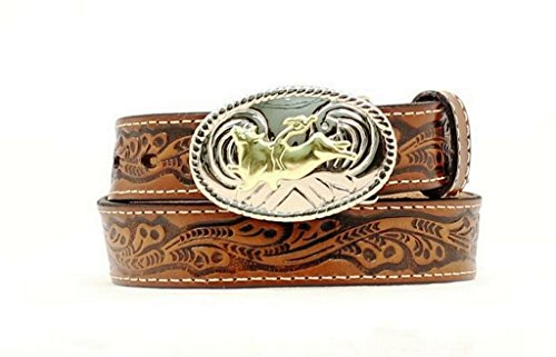 Nocona Boy's Bull Rider Buckle Belt, Brown, 22