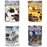 Taste of the Wild Grain-Free Canned Dog Food Variety Pack - Wetlands, Pacific Stream, High Prairie, and Sierra Mountain (Pack of 12, 13.2 oz cans)